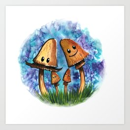 Brown Mushroom Family Art Print