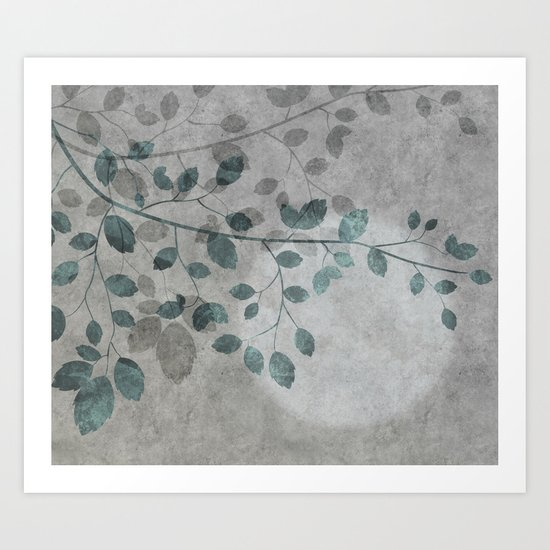 Pale moon mixed media illustration Art Print