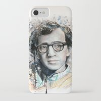 woody allen iPhone & iPod Cases featuring Woody Allen by Denise Esposito