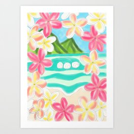 Plumeria ocean view Art Print