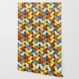 Retro 70s Color Palette Leaf Pattern Wallpaper