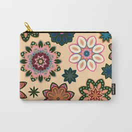 Flower retro pattern. Green pink flowers on beige background. Carry-All Pouch