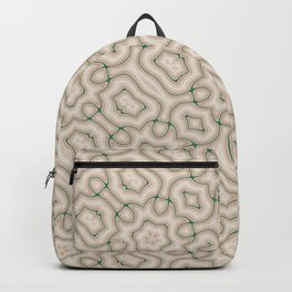 Squiggles in Green on Beige Backpack