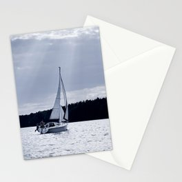 Blue melancholy lake view Stationery Cards