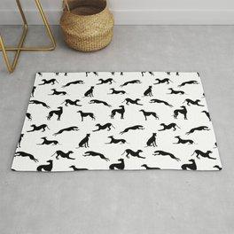 Greyhound Silhouettes Black on White  Rug
