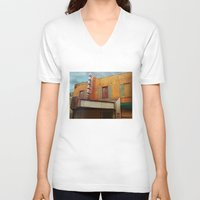 theater V-neck T-shirts featuring The Crumbling Martin Theater by Little Bunny Sunshine