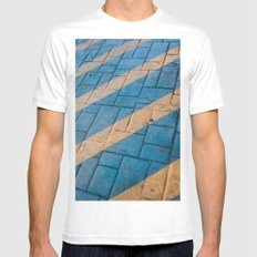 Yellow Lines at the ground MEDIUM Mens Fitted Tee White
