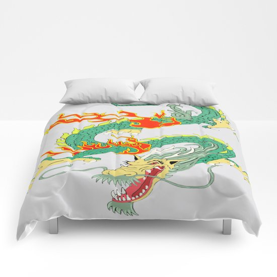 Green Chinese Dragon Comforters