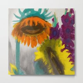 Mexican Sunflowers still life painting by Emil Norde Metal Print