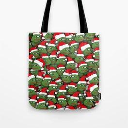 Sad christmas frogs pattern Tote Bag