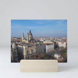 Panoramic view of Budapest and St. Stephen Basilica in Hungary Mini Art Print