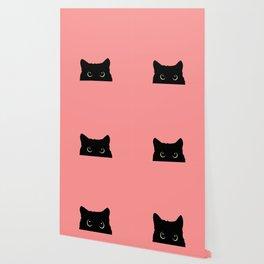 Sneaky black cat Wallpaper