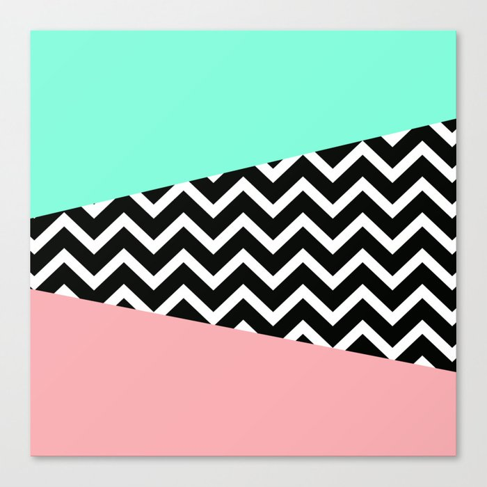 Pastel Chevron Tiffany Rose 80s Pattern Canvas Print