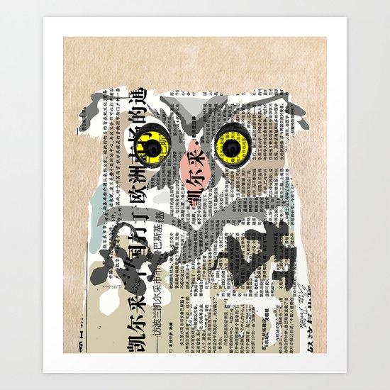 Owl Newspaper Collage Art Print