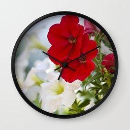 Antique Petunia Flowers Wall Clock