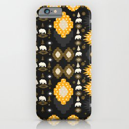 Ethnic winter pattern with little bears iPhone Case