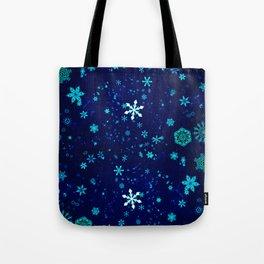 Blue Snowflakes Pattern Tote Bag