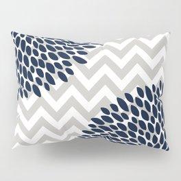 Chevron Floral Modern Navy and Grey Pillow Sham