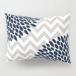 Chevron Floral Modern Navy and Grey Pillow Sham