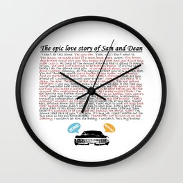 Epic Love Story of Sam and Dean Wall Clock