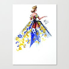 Queen Ball Gown Haute Couture Fashion Illustration Canvas Print