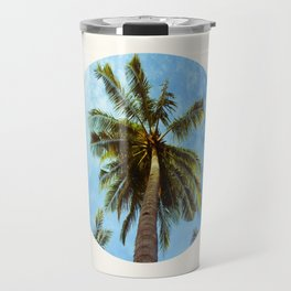 Mid Century Modern Round Circle Photo Looking Up At A Tropical Palm Trees Travel Mug