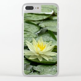 Yellow Water Lily Flower on Green Lily Pads Clear iPhone Case