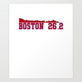 Run Boston Elevation Map 26.2 Distance Runner Art Print