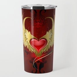 Red Heart with Golden Wings Travel Mug