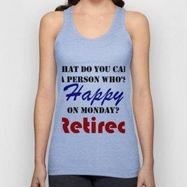 Retired On Monday Funny Retirement Retire Burn Unisex Tank Top