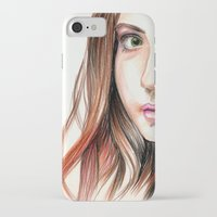 karen hallion iPhone & iPod Cases featuring Karen Gillian Drawing by annelise johnson