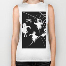 White Ghosts spider web Black background Biker Tank