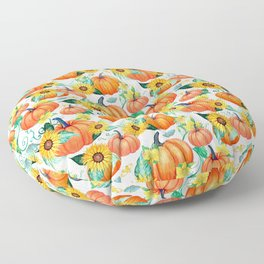 Pumpkins and Sunflowers with moths, watercolor botanical Floor Pillow