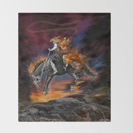 Texas Ghost Rider Throw Blanket