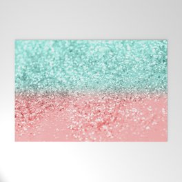 Summer Vibes Glitter #1 #coral #mint #shiny #decor #art #society6 Welcome Mat