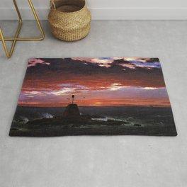 Beacon off Mount Desert Island, Maine by Frederic Edwin Church Rug