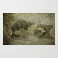 tom selleck Area & Throw Rugs featuring Tom cat by AliceArtDotCom