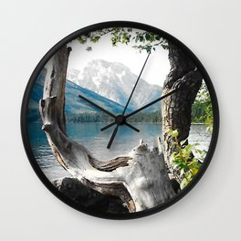 Tetons at Jackson Lake Wyoming Wall Clock
