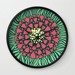 Pink and green florals Wall Clock