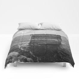 Dun Briste II Black and White Comforters