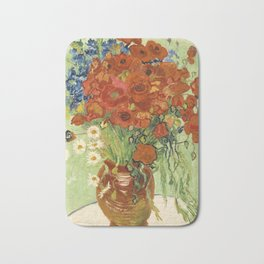 """Vincent van Gogh """"Still Life, Vase with Daisies, and Poppies"""" Bath Mat"""