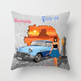 Rockabilly Street Art Throw Pillow