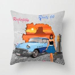 Rockabilly Street Art Throw Pillow