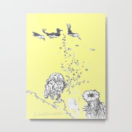Two Tailed Duck and Jellyfish Baby Yellow Metal Print