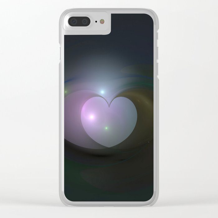 Please Rescue My Heart Fractal Clear iPhone Case