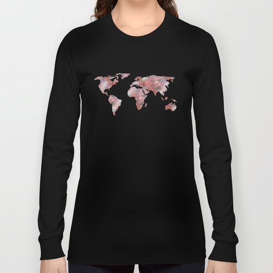 World Map in City Mod Red Slate Long Sleeve T-shirt