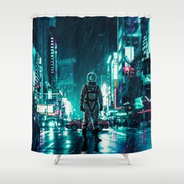 Another Rainy Night ( The Continuous Tale Of The Lost Astronauta) Shower Curtain