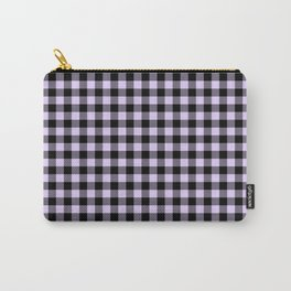 Chalky Pale Lilac Pastel and Black Buffalo Check Carry-All Pouch