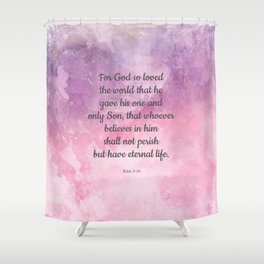 John 3:16, For God So Loved the World Scripture Shower Curtain