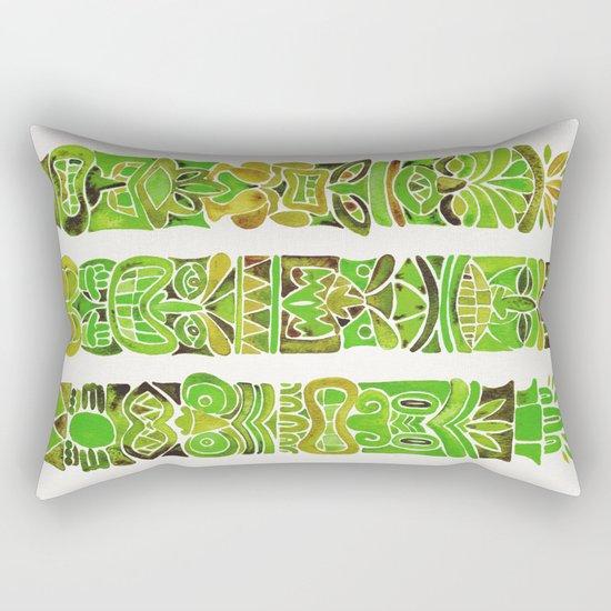 Tiki Totems – Green Rectangular Pillow